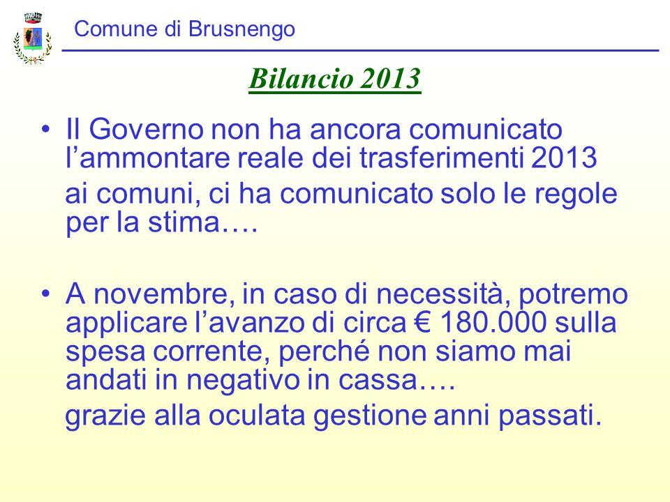Comune di Brusnengo Bilancio 2013 Il Governo non ha ancora comunicato l'ammontare reale dei trasferimenti 2013 ai comuni, ci ha comunicato solo le regole per la stima….