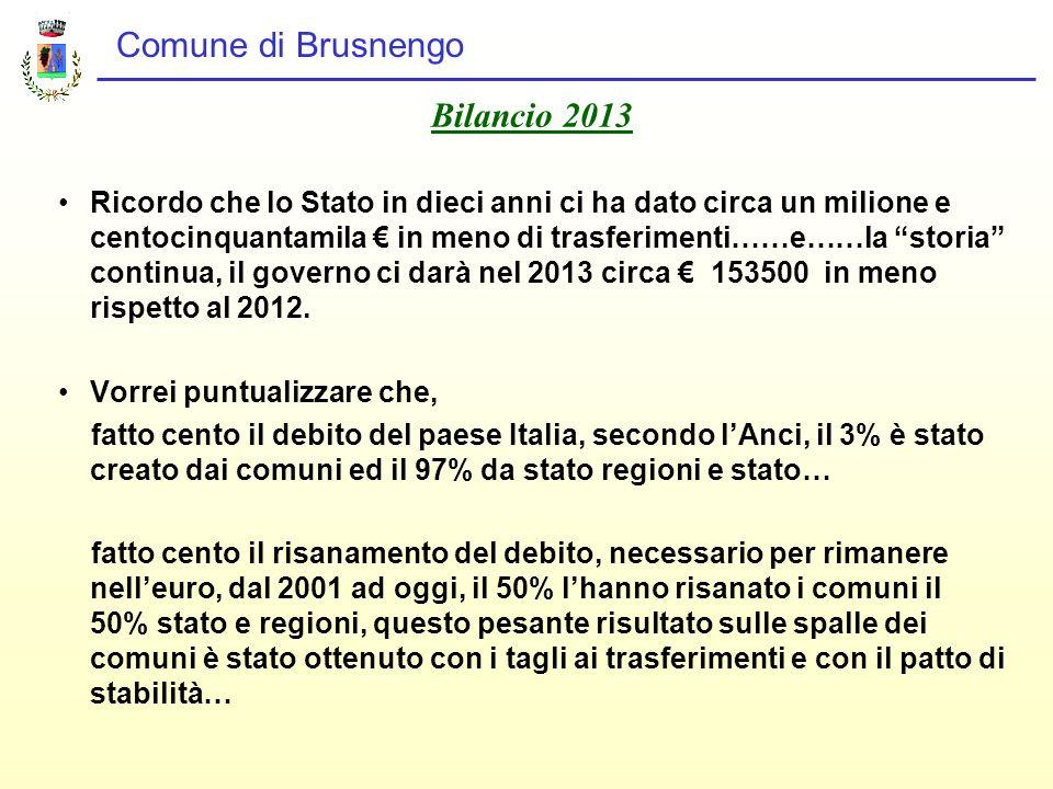 Comune di Brusnengo Bilancio 2013 Ricordo che lo Stato in dieci anni ci ha dato circa un milione e centocinquantamila € in meno di trasferimenti……e……la storia continua, il governo ci darà nel 2013 circa € 153500 in meno rispetto al 2012.