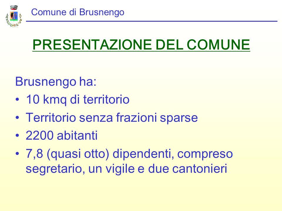 PRESENTAZIONE DEL COMUNE Brusnengo ha: 10 kmq di territorio Territorio senza frazioni sparse 2200 abitanti 7,8 (quasi otto) dipendenti, compreso segretario, un vigile e due cantonieri