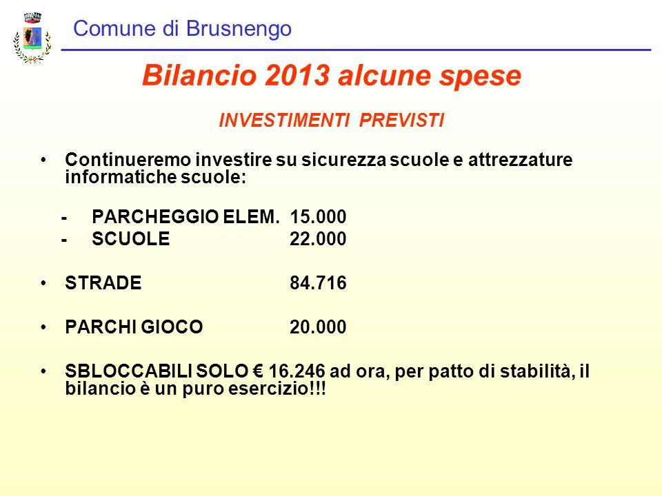 Comune di Brusnengo Bilancio 2013 alcune spese INVESTIMENTI PREVISTI Continueremo investire su sicurezza scuole e attrezzature informatiche scuole: - PARCHEGGIO ELEM.