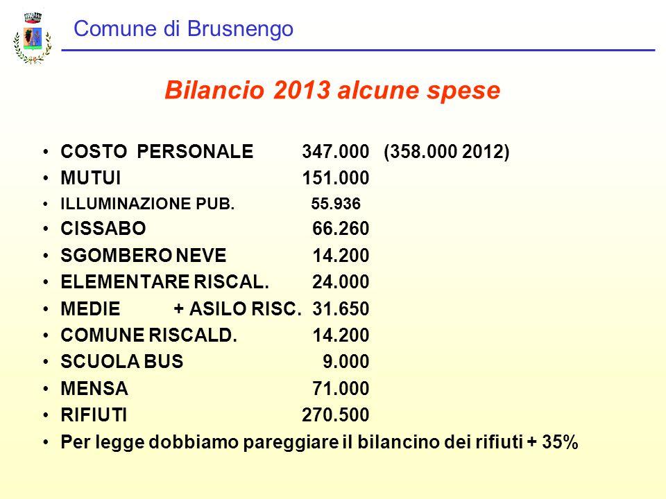 Comune di Brusnengo Bilancio 2013 alcune spese COSTO PERSONALE 347.000 (358.000 2012) MUTUI 151.000 ILLUMINAZIONE PUB.