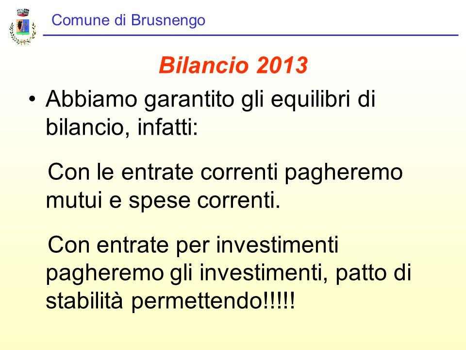 Comune di Brusnengo Bilancio 2013 Abbiamo garantito gli equilibri di bilancio, infatti: Con le entrate correnti pagheremo mutui e spese correnti.