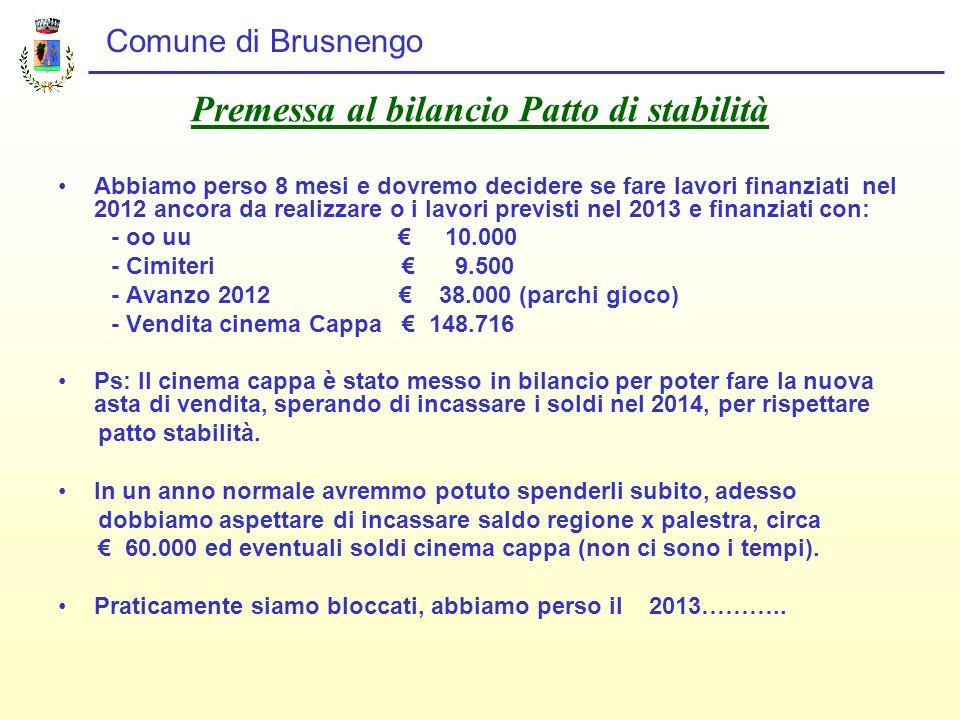 Comune di Brusnengo Premessa al bilancio Patto di stabilità Abbiamo perso 8 mesi e dovremo decidere se fare lavori finanziati nel 2012 ancora da realizzare o i lavori previsti nel 2013 e finanziati con: - oo uu € 10.000 - Cimiteri € 9.500 - Avanzo 2012 € 38.000 (parchi gioco) - Vendita cinema Cappa € 148.716 Ps: Il cinema cappa è stato messo in bilancio per poter fare la nuova asta di vendita, sperando di incassare i soldi nel 2014, per rispettare patto stabilità.