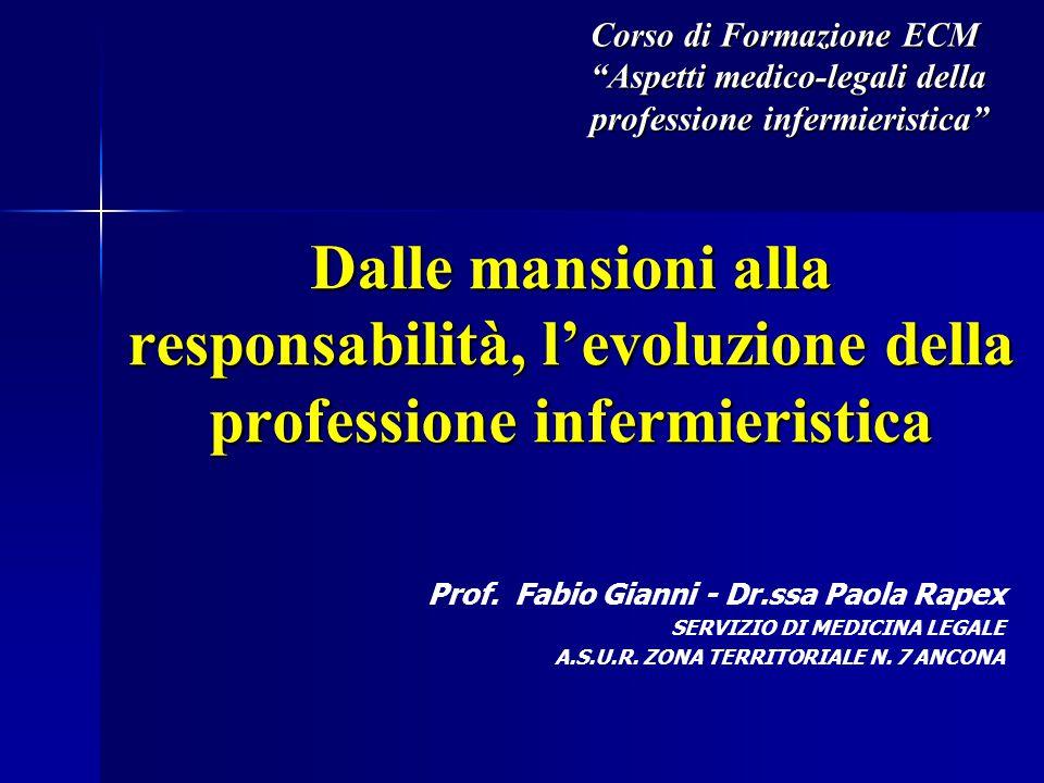 """Dalle mansioni alla responsabilità, l'evoluzione della professione infermieristica Corso di Formazione ECM """"Aspetti medico-legali della professione in"""