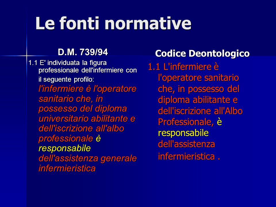 Le fonti normative D.M. 739/94 1.1 E' individuata la figura professionale dell'infermiere con il seguente profilo: l'infermiere è l'operatore sanitari