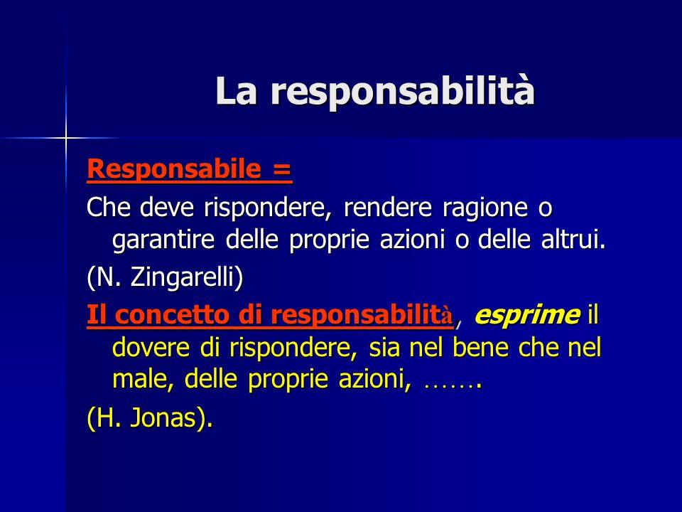 La responsabilità Responsabile = Che deve rispondere, rendere ragione o garantire delle proprie azioni o delle altrui. (N. Zingarelli) Il concetto di