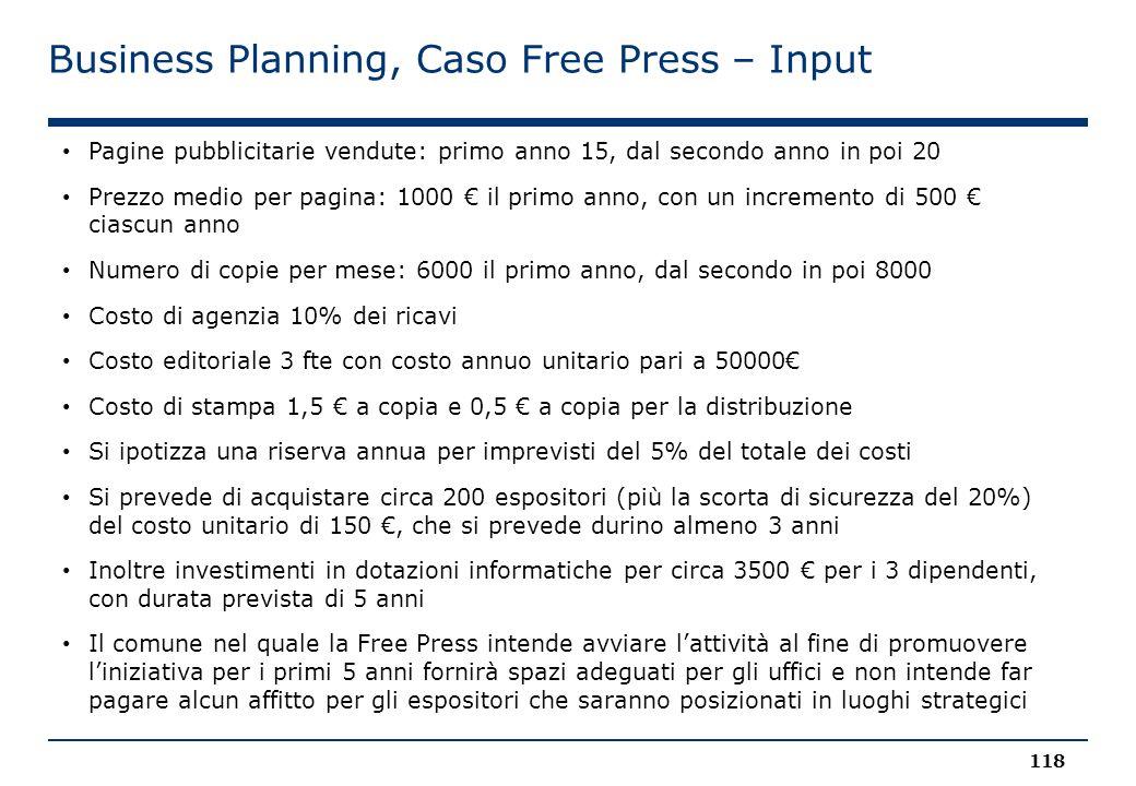 Business Planning, Caso Free Press – Input 118 Pagine pubblicitarie vendute: primo anno 15, dal secondo anno in poi 20 Prezzo medio per pagina: 1000 €