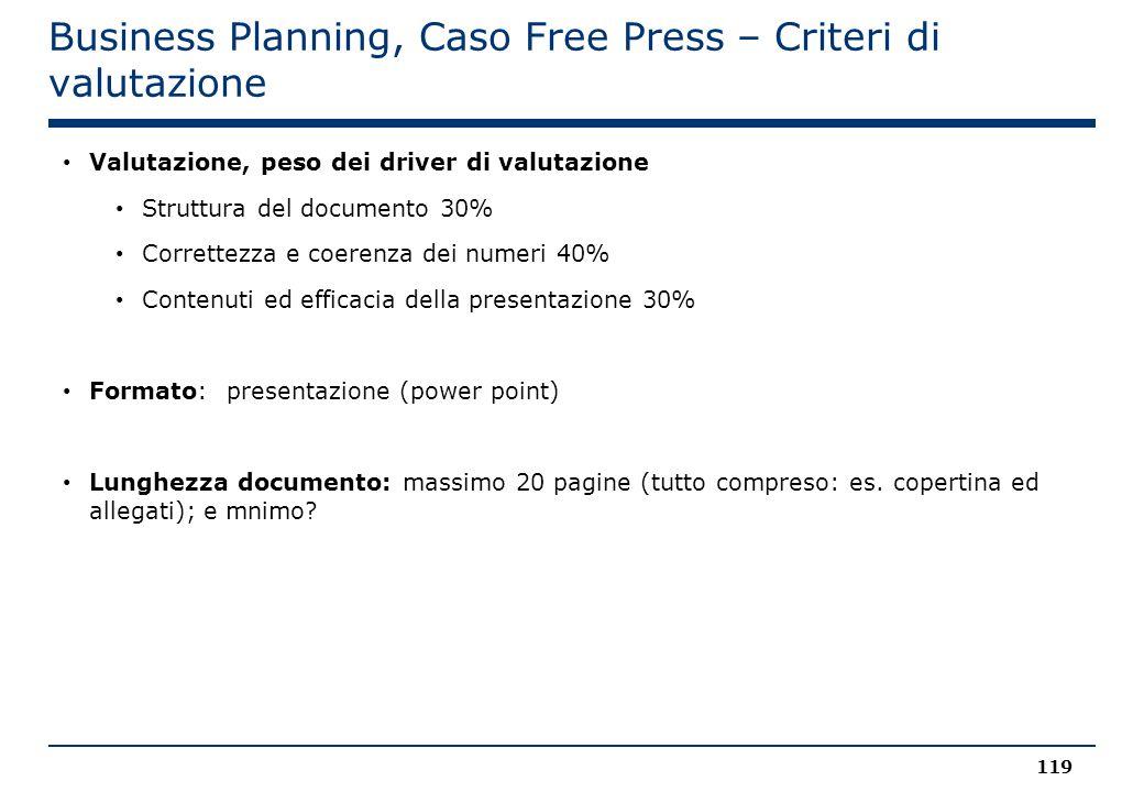 Business Planning, Caso Free Press – Criteri di valutazione 119 Valutazione, peso dei driver di valutazione Struttura del documento 30% Correttezza e