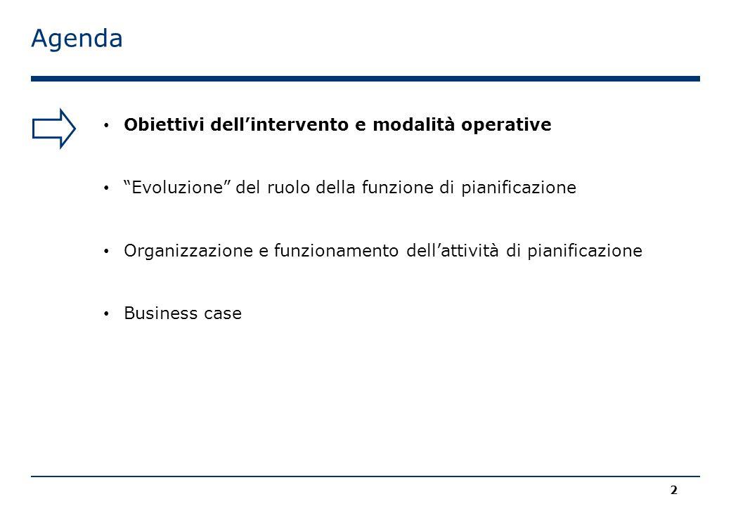 Agenda 2 Obiettivi dell'intervento e modalità operative Evoluzione del ruolo della funzione di pianificazione Organizzazione e funzionamento dell'attività di pianificazione Business case