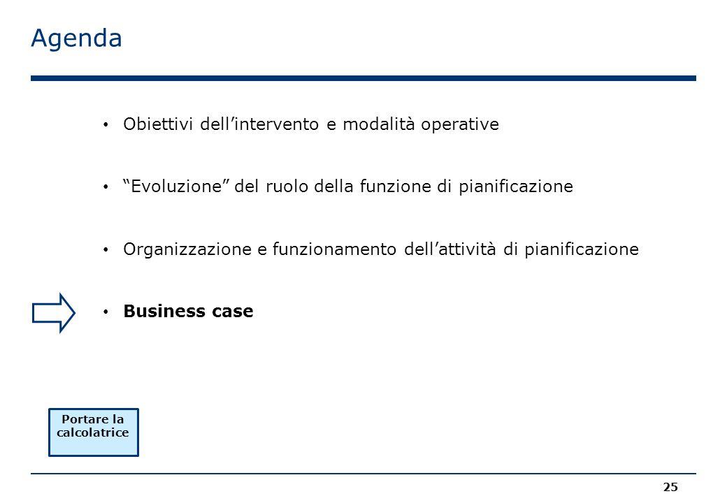 Agenda 25 Obiettivi dell'intervento e modalità operative Evoluzione del ruolo della funzione di pianificazione Organizzazione e funzionamento dell'attività di pianificazione Business case Portare la calcolatrice