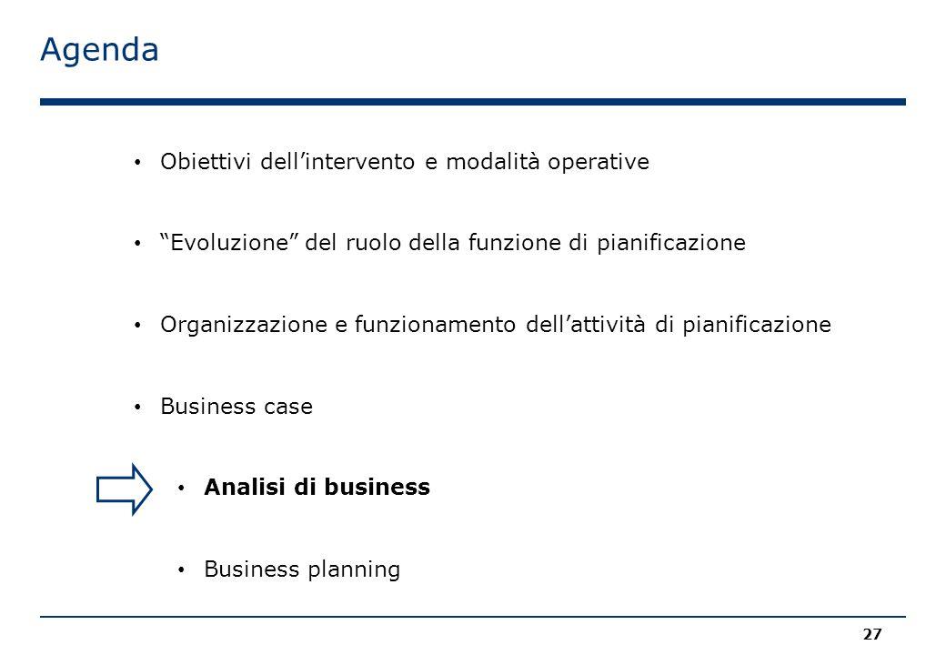 Agenda 27 Obiettivi dell'intervento e modalità operative Evoluzione del ruolo della funzione di pianificazione Organizzazione e funzionamento dell'attività di pianificazione Business case Analisi di business Business planning