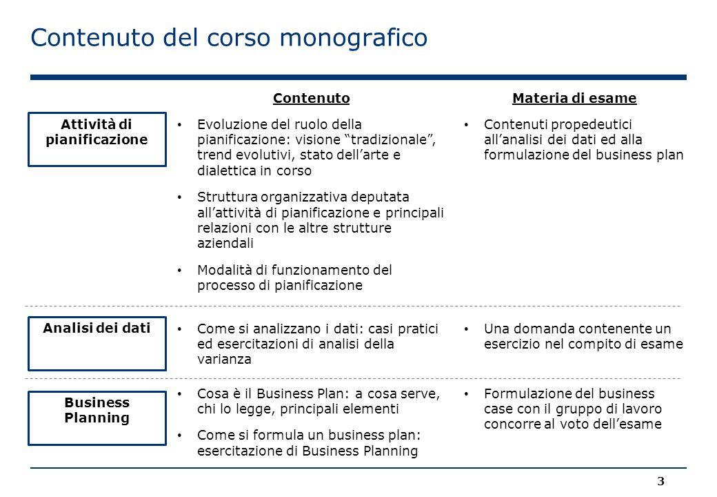 """Contenuto del corso monografico 3 Attività di pianificazione Business Planning Evoluzione del ruolo della pianificazione: visione """"tradizionale"""", tren"""