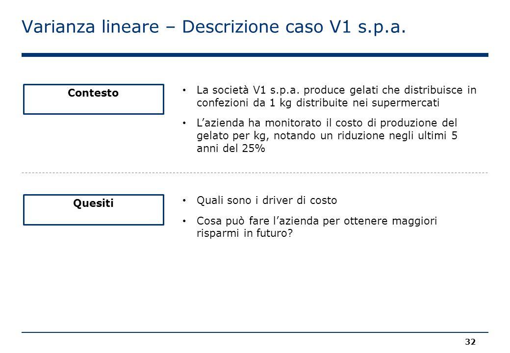 Varianza lineare – Descrizione caso V1 s.p.a. Contesto La società V1 s.p.a. produce gelati che distribuisce in confezioni da 1 kg distribuite nei supe