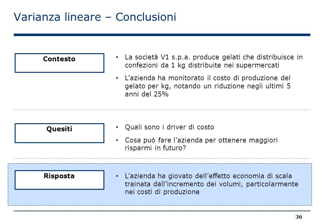 Varianza lineare – Conclusioni Contesto La società V1 s.p.a. produce gelati che distribuisce in confezioni da 1 kg distribuite nei supermercati L'azie