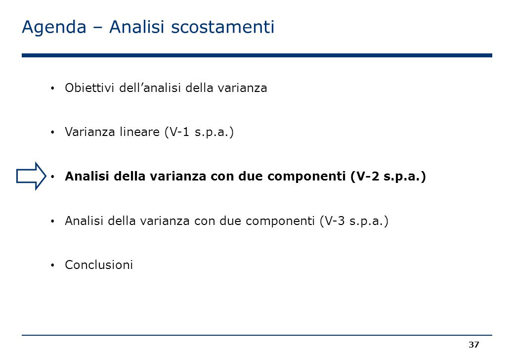Agenda – Analisi scostamenti 37 Obiettivi dell'analisi della varianza Varianza lineare (V-1 s.p.a.) Analisi della varianza con due componenti (V-2 s.p.a.) Analisi della varianza con due componenti (V-3 s.p.a.) Conclusioni
