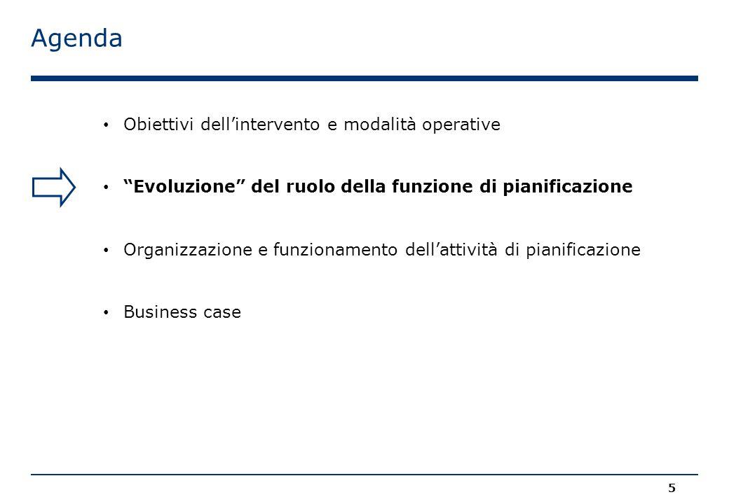 Agenda 5 Obiettivi dell'intervento e modalità operative Evoluzione del ruolo della funzione di pianificazione Organizzazione e funzionamento dell'attività di pianificazione Business case