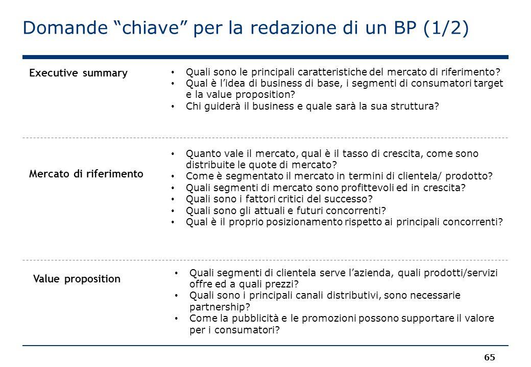 """Domande """"chiave"""" per la redazione di un BP (1/2) 65 Quali sono le principali caratteristiche del mercato di riferimento? Qual è l'idea di business di"""