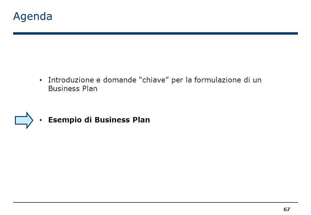 Agenda 67 Introduzione e domande chiave per la formulazione di un Business Plan Esempio di Business Plan