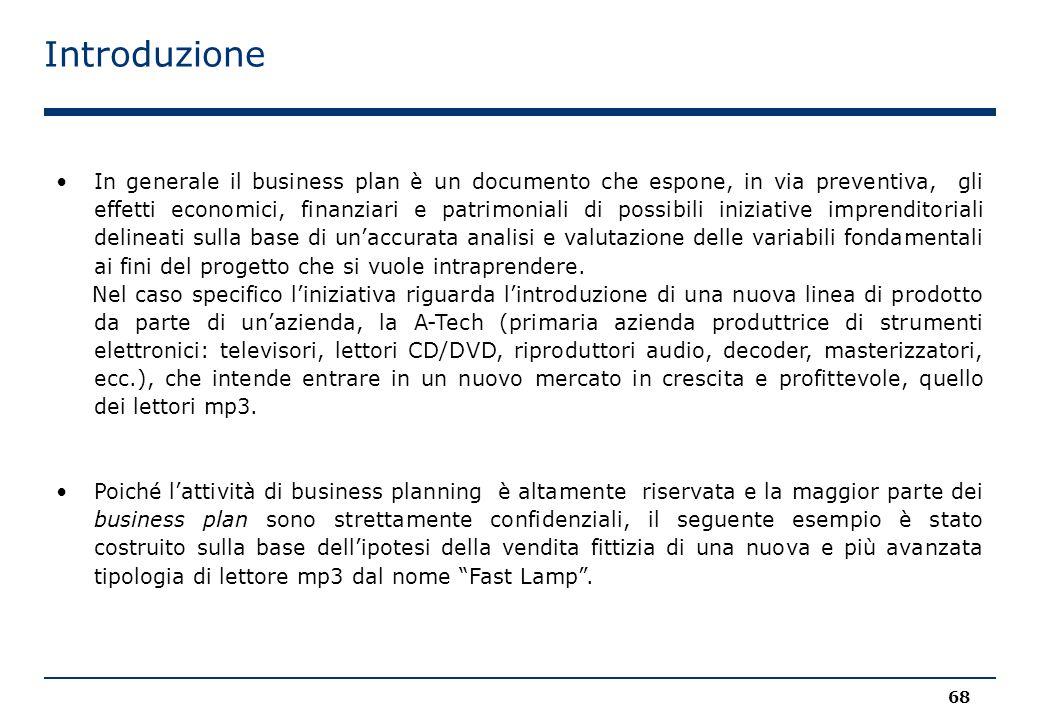 Introduzione 68 Poiché l'attività di business planning è altamente riservata e la maggior parte dei business plan sono strettamente confidenziali, il