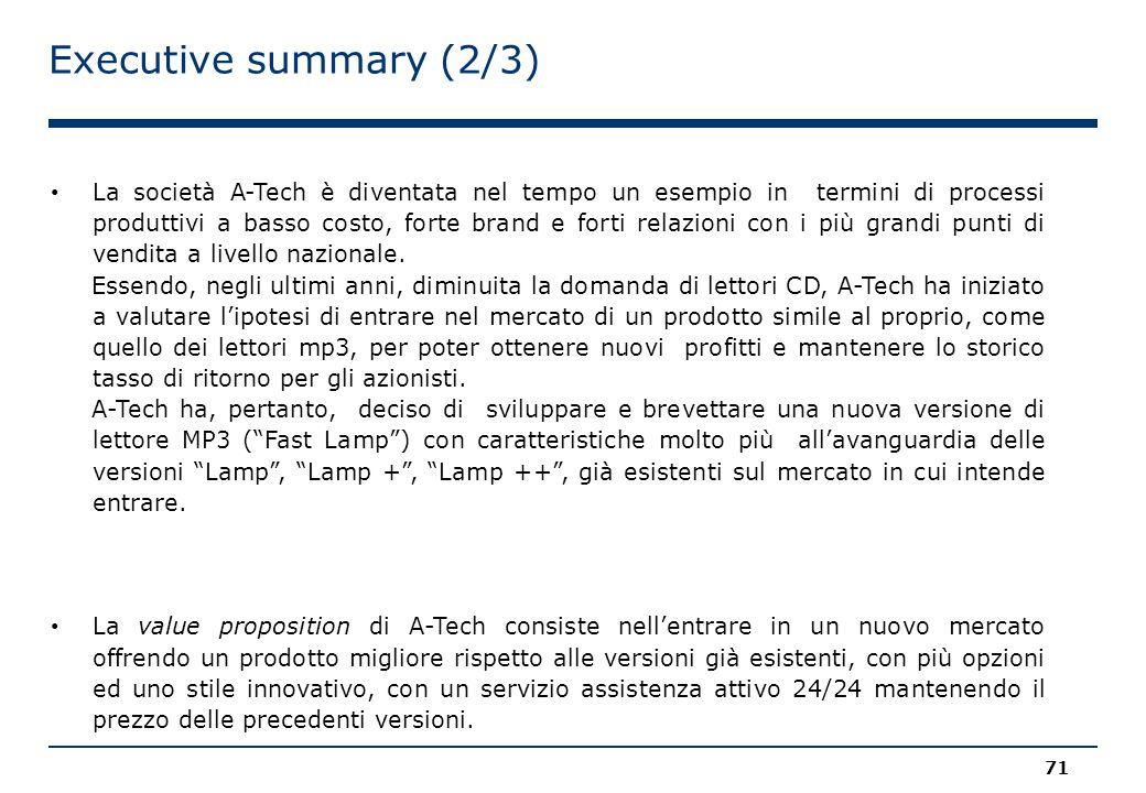 Executive summary (2/3) 71 La società A-Tech è diventata nel tempo un esempio in termini di processi produttivi a basso costo, forte brand e forti relazioni con i più grandi punti di vendita a livello nazionale.
