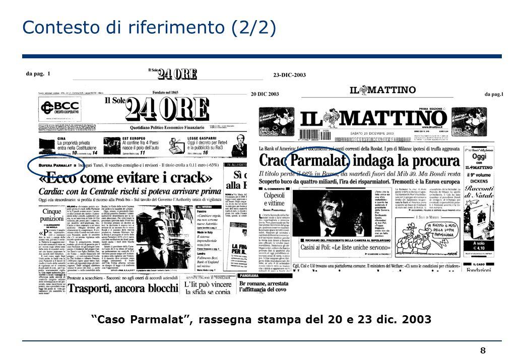 Contesto di riferimento (2/2) 8 Caso Parmalat , rassegna stampa del 20 e 23 dic. 2003