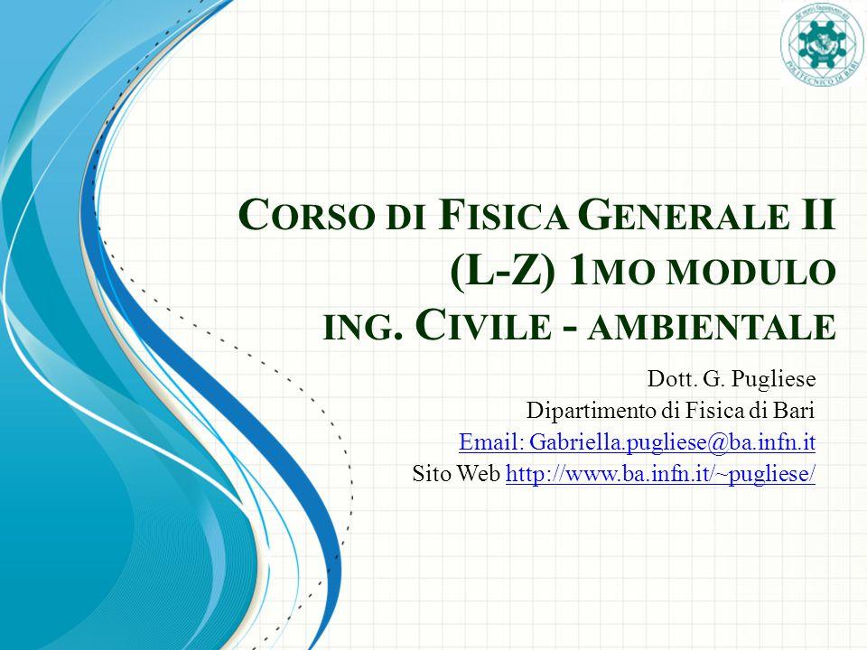 C ORSO DI F ISICA G ENERALE II (L-Z) 1 MO MODULO ING.