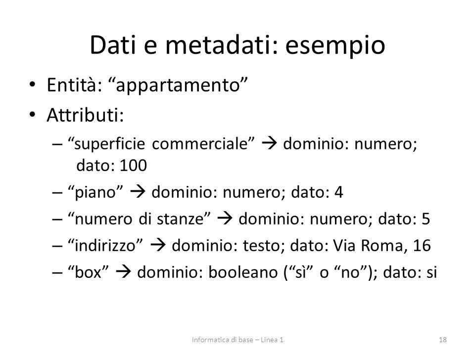 """Dati e metadati: esempio Entità: """"appartamento"""" Attributi: – """"superficie commerciale""""  dominio: numero; dato: 100 – """"piano""""  dominio: numero; dato:"""