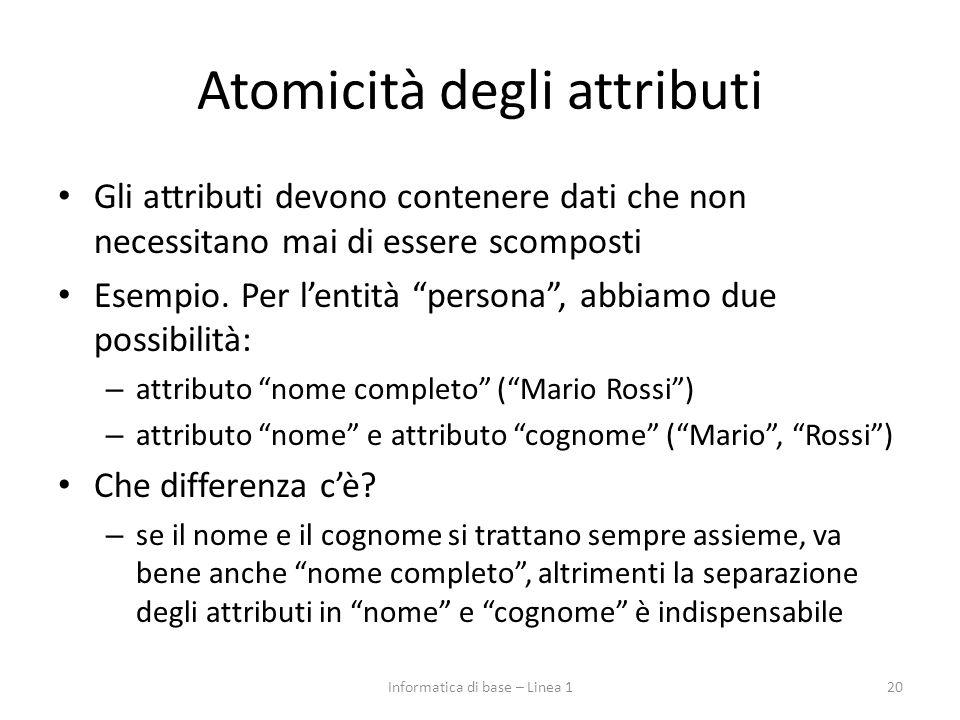"""Atomicità degli attributi Gli attributi devono contenere dati che non necessitano mai di essere scomposti Esempio. Per l'entità """"persona"""", abbiamo due"""