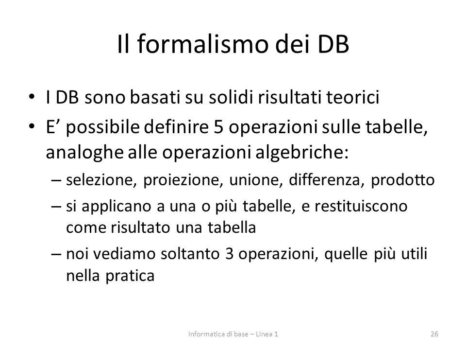 Il formalismo dei DB I DB sono basati su solidi risultati teorici E' possibile definire 5 operazioni sulle tabelle, analoghe alle operazioni algebrich