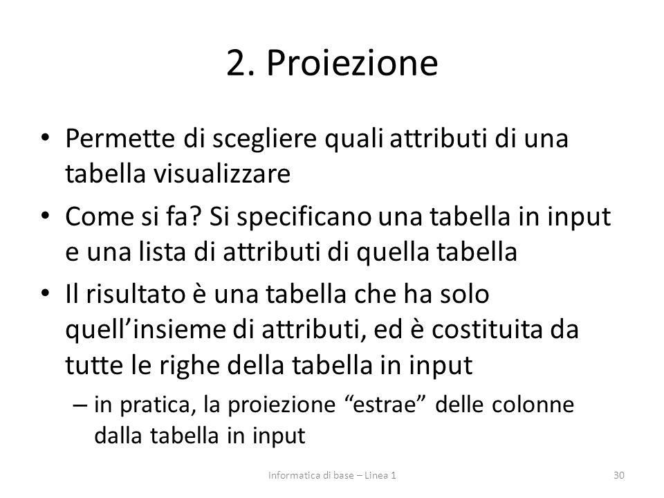 2. Proiezione Permette di scegliere quali attributi di una tabella visualizzare Come si fa? Si specificano una tabella in input e una lista di attribu