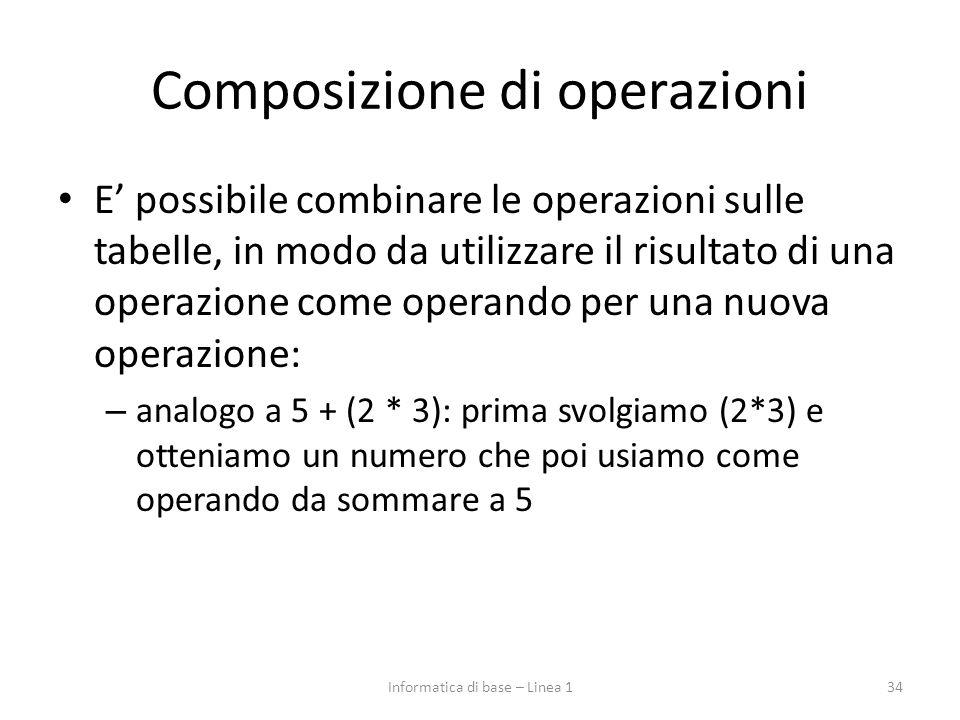 Composizione di operazioni E' possibile combinare le operazioni sulle tabelle, in modo da utilizzare il risultato di una operazione come operando per