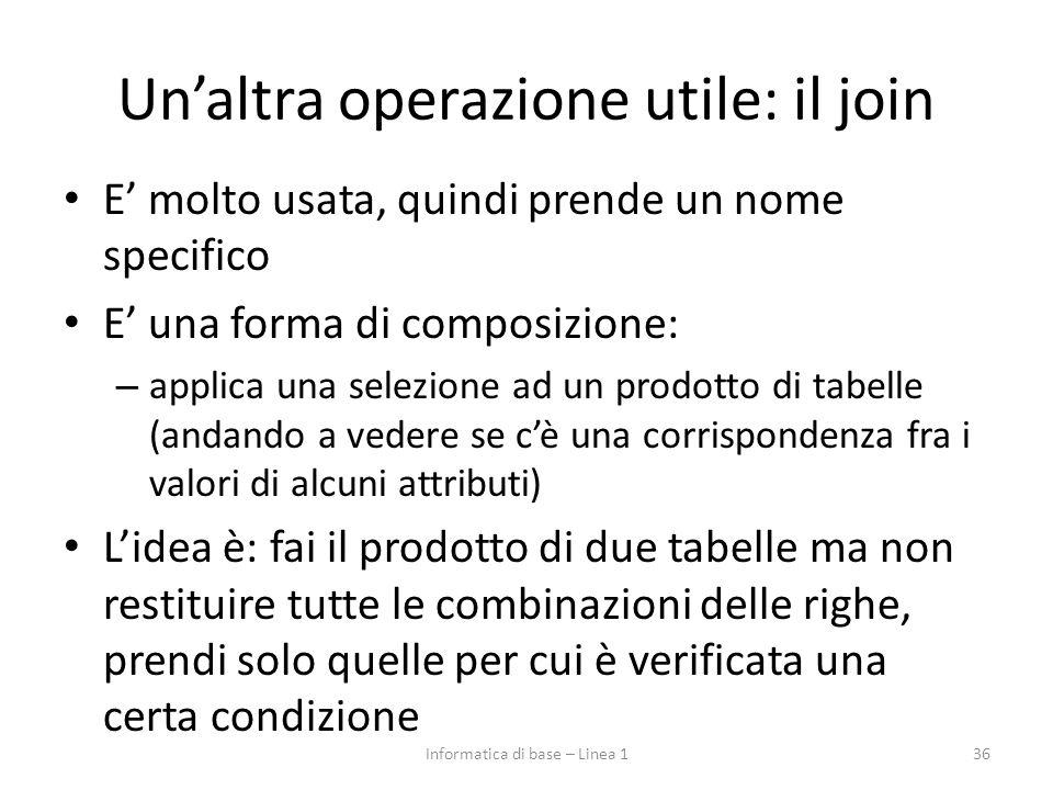 Un'altra operazione utile: il join E' molto usata, quindi prende un nome specifico E' una forma di composizione: – applica una selezione ad un prodott