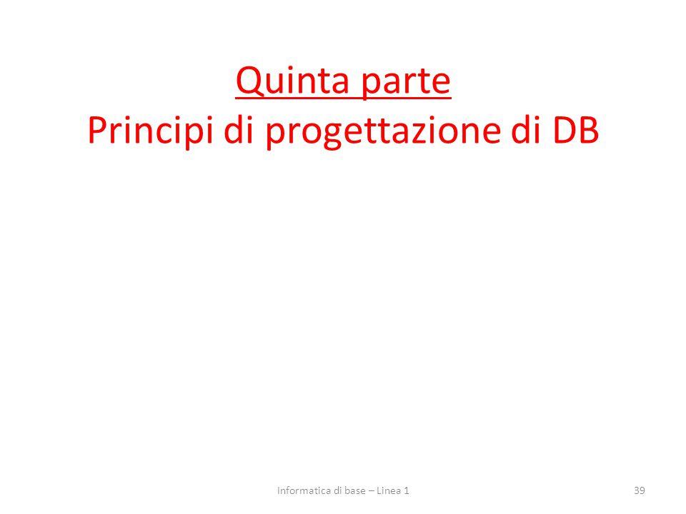 Quinta parte Principi di progettazione di DB 39Informatica di base – Linea 1