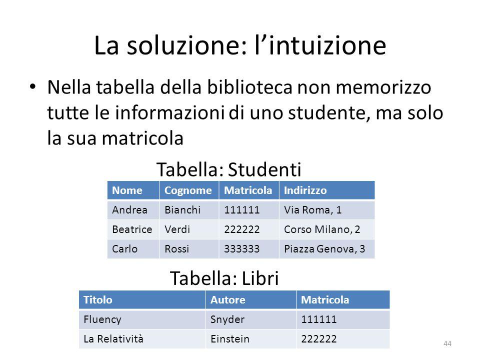 La soluzione: l'intuizione Nella tabella della biblioteca non memorizzo tutte le informazioni di uno studente, ma solo la sua matricola 44 Tabella: St