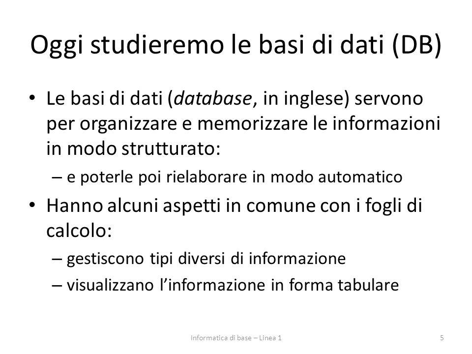 Oggi studieremo le basi di dati (DB) Le basi di dati (database, in inglese) servono per organizzare e memorizzare le informazioni in modo strutturato: