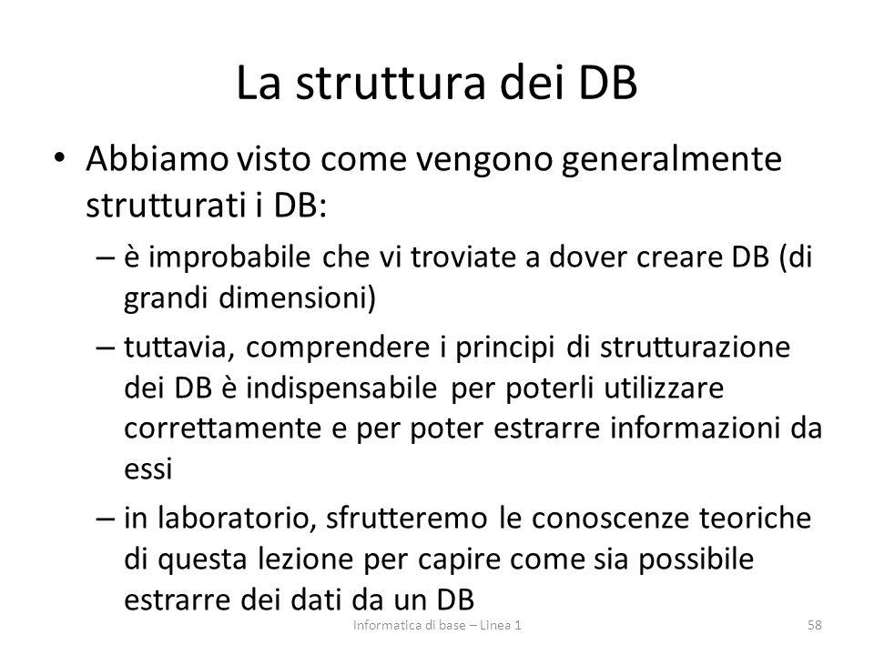 La struttura dei DB Abbiamo visto come vengono generalmente strutturati i DB: – è improbabile che vi troviate a dover creare DB (di grandi dimensioni)