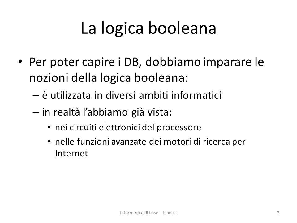 La logica booleana Per poter capire i DB, dobbiamo imparare le nozioni della logica booleana: – è utilizzata in diversi ambiti informatici – in realtà