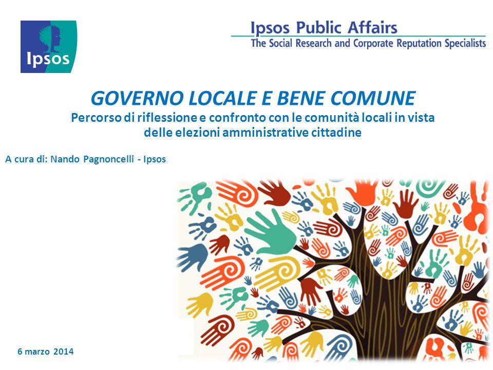 6 marzo 2014 GOVERNO LOCALE E BENE COMUNE Percorso di riflessione e confronto con le comunità locali in vista delle elezioni amministrative cittadine