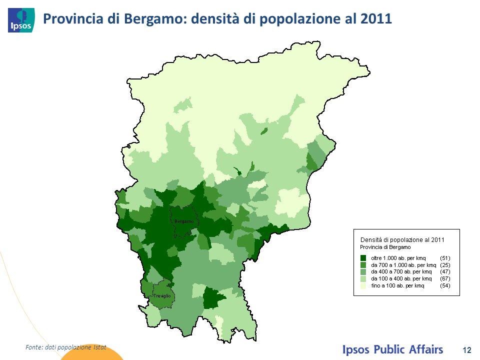 Provincia di Bergamo: densità di popolazione al 2011 12 Fonte: dati popolazione Istat