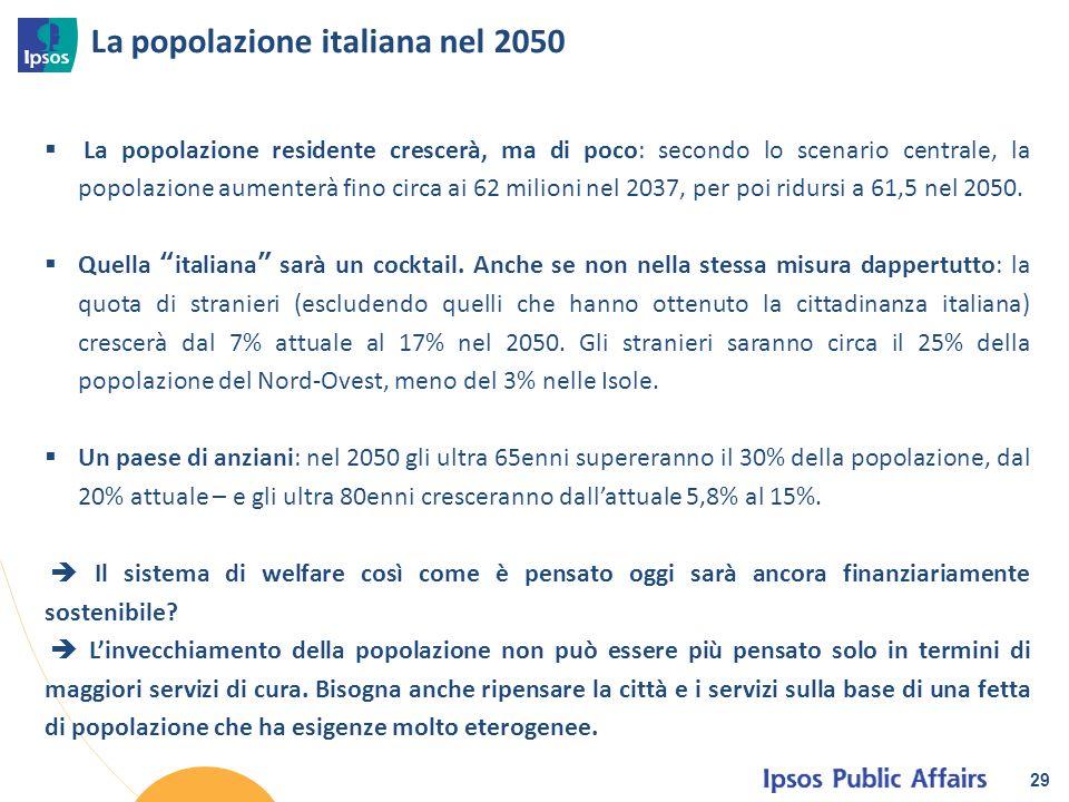 La popolazione italiana nel 2050 29  La popolazione residente crescerà, ma di poco: secondo lo scenario centrale, la popolazione aumenterà fino circa