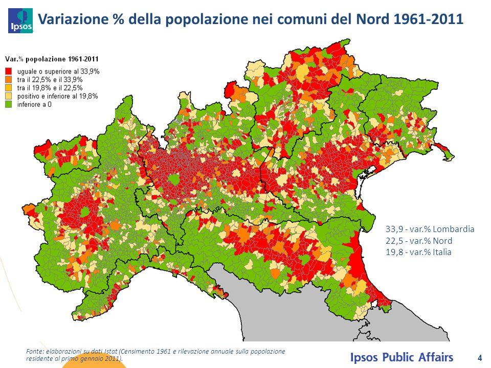 Variazione % della popolazione nei comuni del Nord 1961-2011 4 Fonte: elaborazioni su dati Istat (Censimento 1961 e rilevazione annuale sulla popolazi
