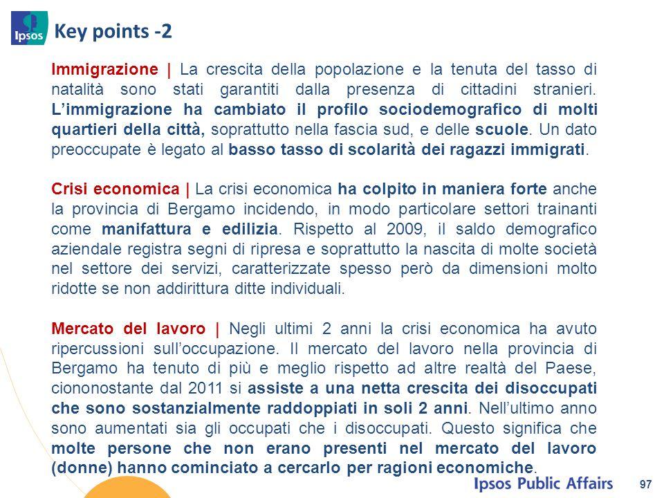 Key points -2 97 Immigrazione | La crescita della popolazione e la tenuta del tasso di natalità sono stati garantiti dalla presenza di cittadini stran