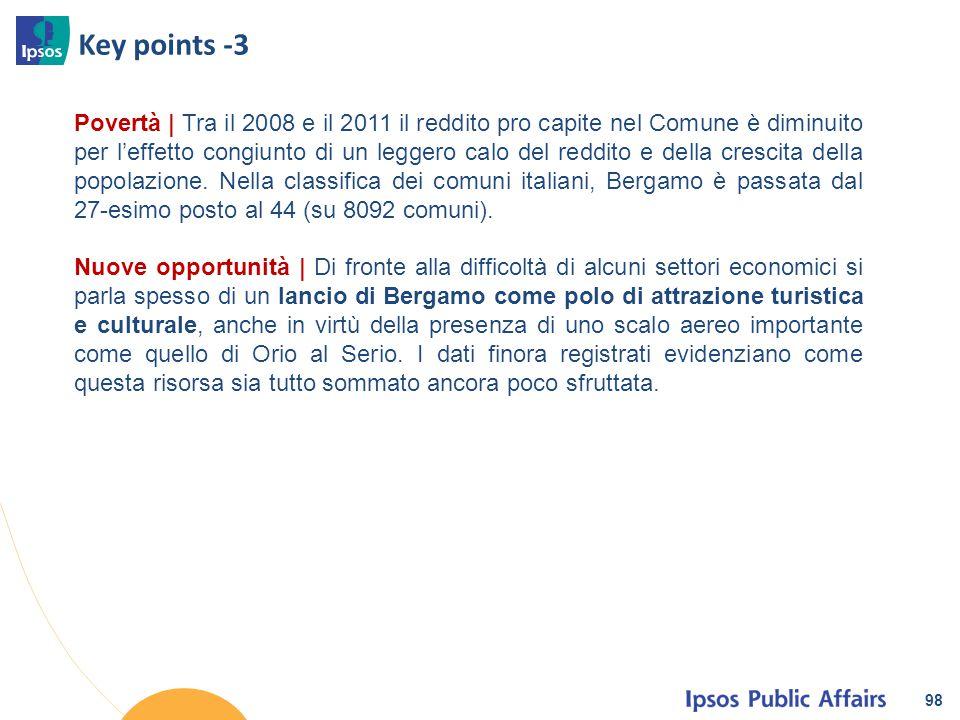 Key points -3 98 Povertà | Tra il 2008 e il 2011 il reddito pro capite nel Comune è diminuito per l'effetto congiunto di un leggero calo del reddito e