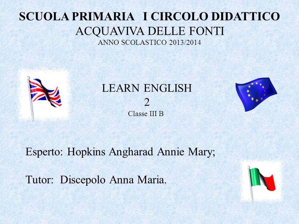 SCUOLA PRIMARIA I CIRCOLO DIDATTICO ACQUAVIVA DELLE FONTI ANNO SCOLASTICO 2013/2014 LEARN ENGLISH 2 Esperto: Hopkins Angharad Annie Mary; Tutor: Disce
