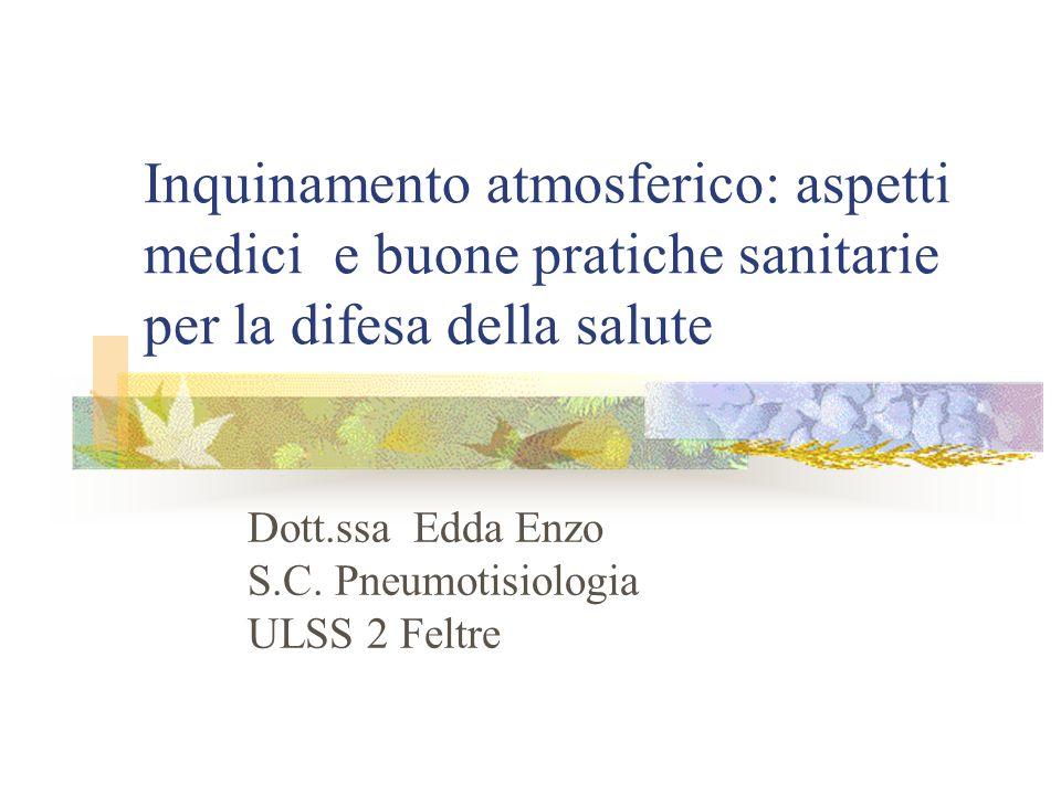 Inquinamento atmosferico: aspetti medici e buone pratiche sanitarie per la difesa della salute Dott.ssa Edda Enzo S.C. Pneumotisiologia ULSS 2 Feltre