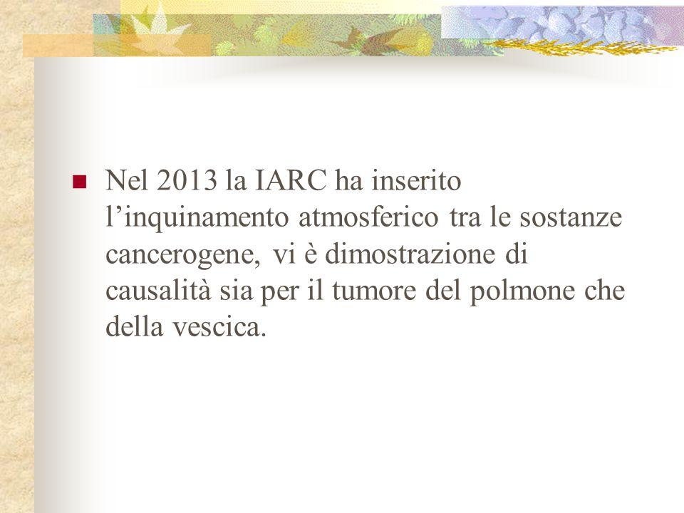 Nel 2013 la IARC ha inserito l'inquinamento atmosferico tra le sostanze cancerogene, vi è dimostrazione di causalità sia per il tumore del polmone che