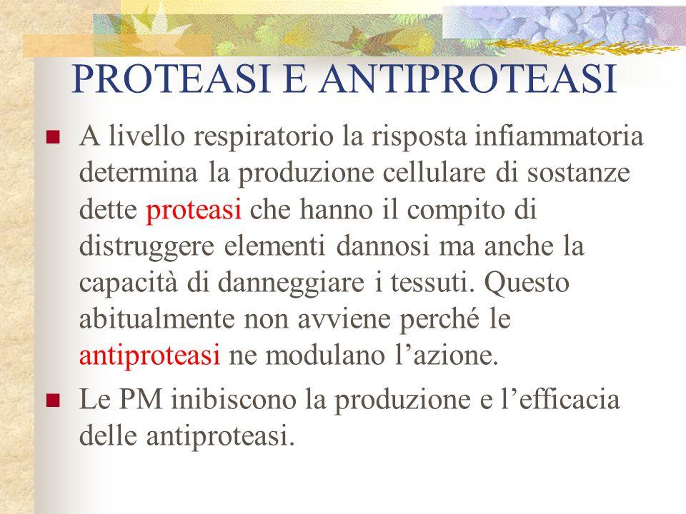 PROTEASI E ANTIPROTEASI A livello respiratorio la risposta infiammatoria determina la produzione cellulare di sostanze dette proteasi che hanno il com