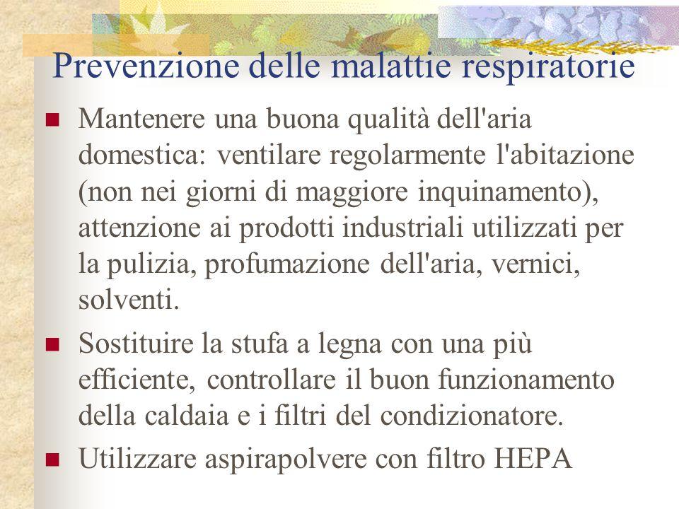 Prevenzione delle malattie respiratorie Mantenere una buona qualità dell'aria domestica: ventilare regolarmente l'abitazione (non nei giorni di maggio