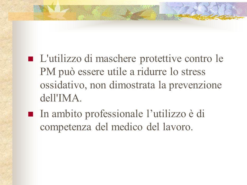 L'utilizzo di maschere protettive contro le PM può essere utile a ridurre lo stress ossidativo, non dimostrata la prevenzione dell'IMA. In ambito prof