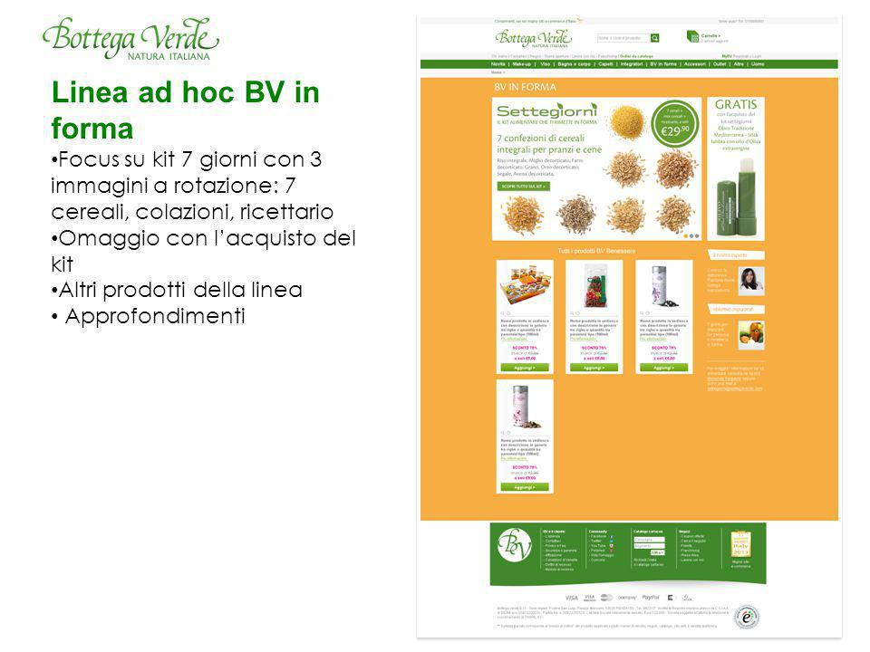 Linea ad hoc BV in forma Focus su kit 7 giorni con 3 immagini a rotazione: 7 cereali, colazioni, ricettario Omaggio con l'acquisto del kit Altri prodotti della linea Approfondimenti